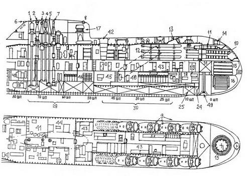 схема помещений подводной лодки